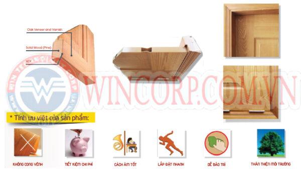 Mặt cắt cấu tạo cửa gỗ công nghiệp HDF
